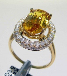 6.08ct Sapphire & 1.18ctw Diamond 14KT Gold Ring