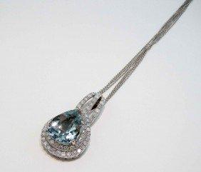 10.76ct Aquamarine & 2.83ctw Diamond 14KT Gold Pendant