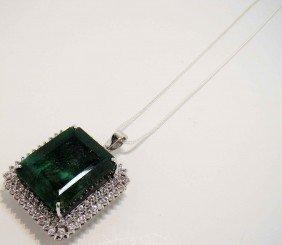 113.59ct Emerald & 1.33ct CL-Sapp Silver Pendant W/ Cha