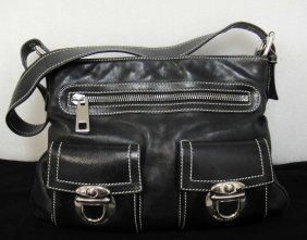 Genuine Marc Jacobs Black Leather Handbag With Poc