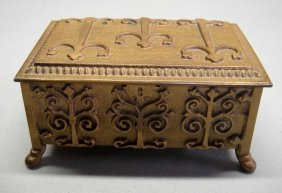 1920's Spanish Bronze Gilded Heavy Cast Box Decora