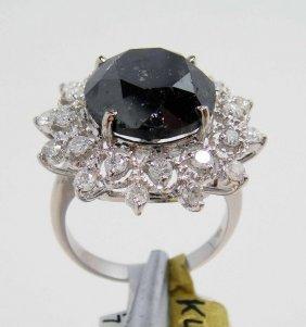 11.80ctw (10.79ct Black CNTR) White Diamond 14KT Ri
