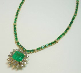 23.34ct Emerald & 3.81ct Diamond 14KT Gold Pendant