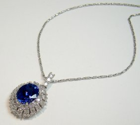 3.63ct Tanzanite & 1.49ctw Diamond 14KT Pendant
