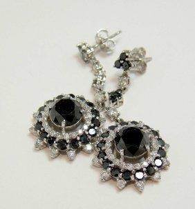 6.92ctw Black/White Diamond 14KT White Gold Earring