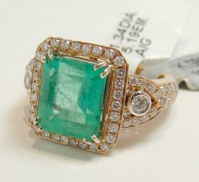 5.19ct Emerald & 1.34ct Diamond 14KT Rose Gold Ring