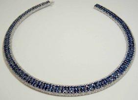57.61ctw Blue & 7.13ctw CL-Sapphire Platinum Plated Nec