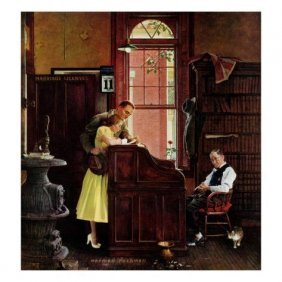 """Norman Rockwell """"Marriage License"""" Offset Litho"""