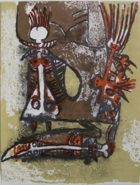 """Wifredo Lam """"Double Personnages"""" Lithograph"""