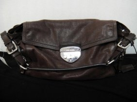 Authentic Prada Milano Distressed Brown Handbag