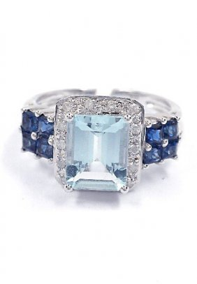 2.79ct Aqua/Sapphire & 0.11ctw Diamond 10KTW Gold Ri