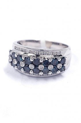 1.38ctw Blue & White Diamond 14KT White Gold Ring