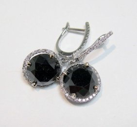 8.26ct Black & 0.29ct White Diamond 18KT Gold Ear
