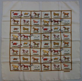 Hermes Silk Scarf, Multi Horse Pattern Motif