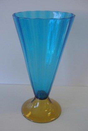 3 Steuben Blue Amp Amber Glass Footed Vase 3215 Lot 3