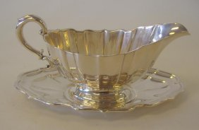 "Sterling Silver Sauce Boat & Tray, ""Chippendale"""