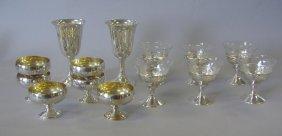 12 Sterling & Etched Glass Sherbets + 2 Goblets