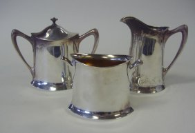 Sterling Pitcher, Sugar Bowl & Waste Bowl By Towle