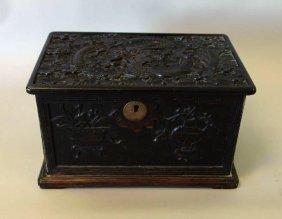 Chinese Carved Zitan Wood Jewel Casket Box