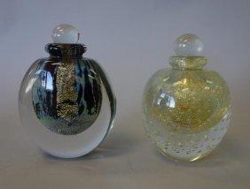 2 Robert Eickholt Art Glass Perfume Bottles