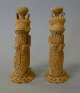 Tsimshian / Tlingit Cedar Totem Candlesticks C1930