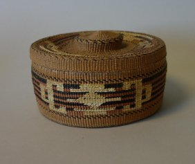 Tlingit Northwest Coast Polychrome Lidded Basket