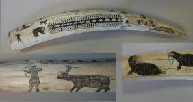 "23"" Antique Scrimshawed Walrus Tusk Cribbage Board"