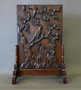 Chinese Carved Rosewood Table Screen & Stand