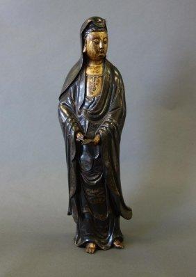 Chinese Silver Inlaid Bronze Guanyin, Shisou Mark