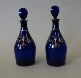 English Cobalt Blue Glass Decanters, Pair