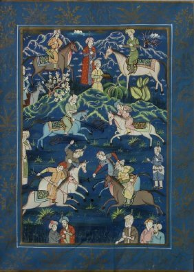 Mughal Painting, Polo Scene, Men On Horseback