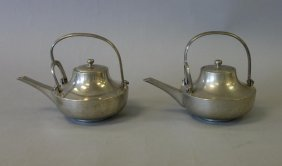 Two Asian Pewter Teapots / Sake Pots, Signed
