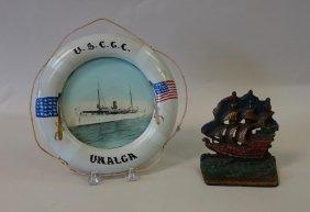 Life Preserver Frame & Bronze Ship Bookend