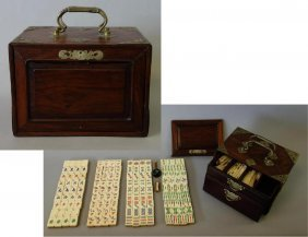 Chinese Mahjong Set In Rosewood Case