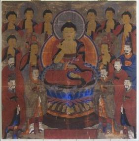 Fine Large Korean Buddhist Painting Joseon Dynasty