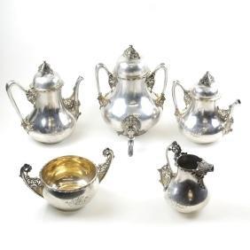 Rare Tiffany & Co. Sterling 5-Piece Tea & Coffee