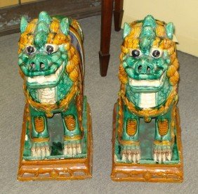 19th Century Chinese Glazed Foo Dogs On Bases�  Ove