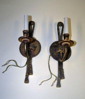 Pair Of Brass Single Arm Sconces