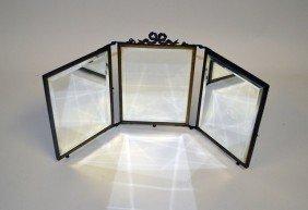 Antique Louis XVI Style Triptych Vanity Mirror