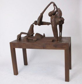 Magpantay Contemporary Steel Sculpture Of Table