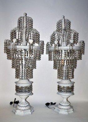 Pair Of Metal Fountain Lamps
