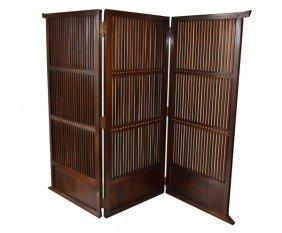 Tri-Fold Wood Screen