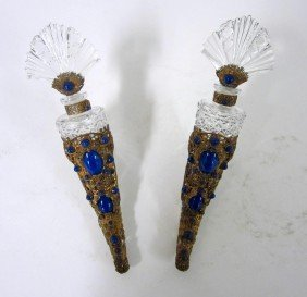 Pair Of Filigree Encrusted Crystal Perfume Horns