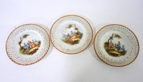 Set Of Three Lille 1767 Hand Painted Plates