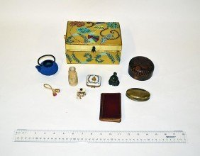 Silk Box With Misc.  Asian Articles