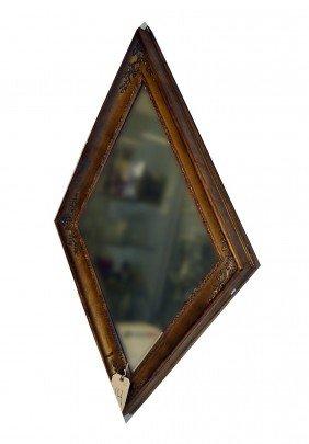 Gilt Wood Diamond Shape Mirror