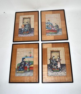 Set Of Four Chinese Watercolors