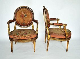 Pair Of French 19th C. Armchairs