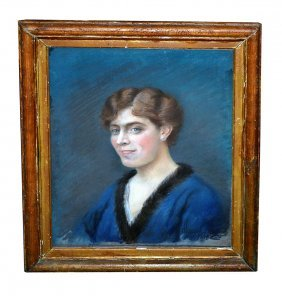 G. Dupont Pastel On Canvas, Portrait Of A Woman