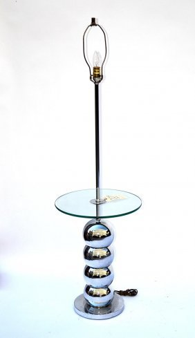 Modern Chrome & Glass Floor Lamp